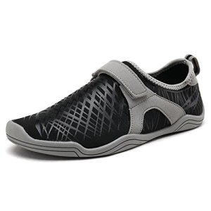 DREAM PAIRS Women's Black Grey Slip On Athletic Water Shoes