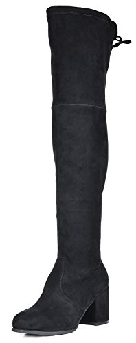 TOETOS Women's Prade-High Black Over The Knee Chunky Heel Boots