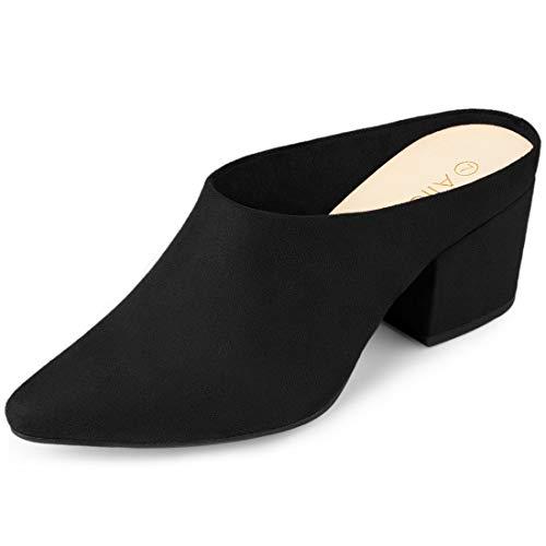 Allegra K Women's Pointed Toe Slip On Block Heel Slide Black Mules