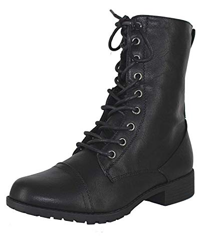 Forever Link Womens Round Toe Military Lace up Knit Ankle Cuff Low