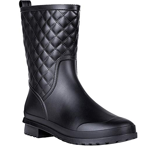 Litfun Womens Black Mid Calf Rain Boots Outdoor Work Waterproof