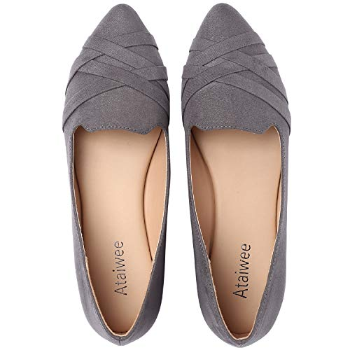 Ataiwee Women's Pointy Toe Suede Ballet Classic Casual Cozy Flats