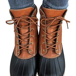 Liyuandian Womens Lace Up Duck Boots Waterproof Two Tone Combat