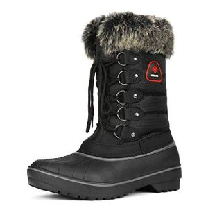 DREAM PAIRS Women's DP-Canada Black Faux Fur Lined Mid Calf Winter