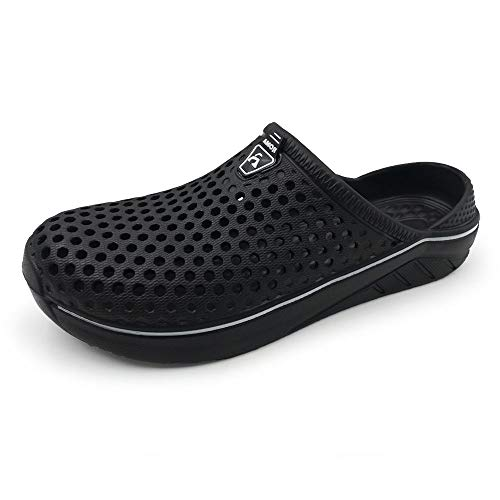 Amoji Garden Women Men Clogs Shoes Slippers Indoor Shoes Sandals Outdoor Shower Shoes Summer Breathable Light Beach Sport Women Ladies Y182 Black 12-13 M US Women/9.5-10.5 M US Men