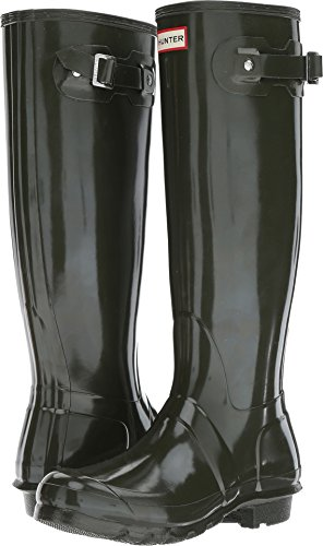Hunter Women's Original Tall Gloss Dark Olive Shoe