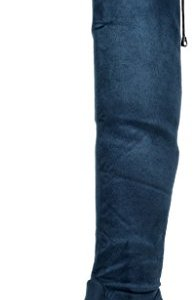 DREAM PAIRS Women's Leggy Blue Faux Suede Over The Knee Thigh High Boots