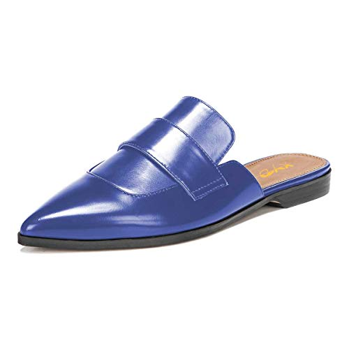 XYD Womens Retro Backless Slip On Loafer Flats Pointed