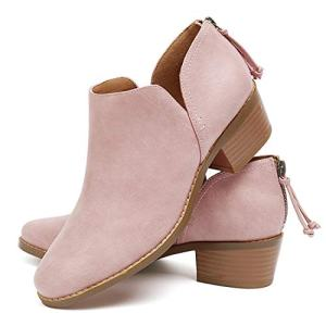 GOUPSKY Ankle Boots for Women Slip On Loafers Pointed Toe Chunky