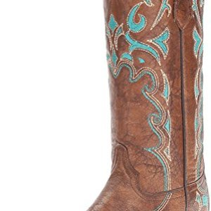 Corral Circle G Women's Turquoise-Embroidered Distressed Brown Leather