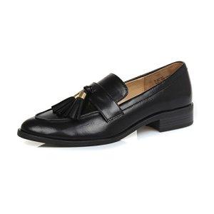 DUNION Women's Bertha Comfortable Tassel Slip Low Heels