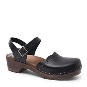 Sandgrens Swedish Wooden Low Heel Clog Sandals for Women