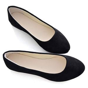 Stunner Women Cute Slip-On Ballet Shoes Soft Solid Classic Pointed Toe Flats Black 41