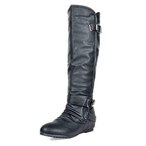 DREAM PAIRS Women's New-Akris Black Pu Knee High Hidden Wedge