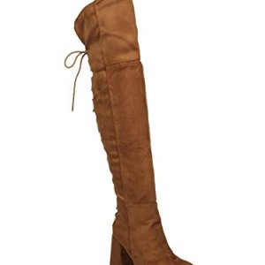 Indulge Bella-I Women Faux Suede Over The Knee Hind Lace Up Block Heel Boot