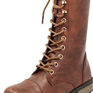 Cambridge Select Women's Round Toe Lace-up Low Heel Combat Boot