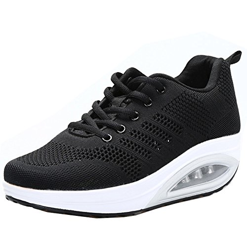 JARLIF Women's Comfortable Platform Walking Sneakers Lightweight Casual Tennis Air Fitness Shoes All Black US6.5
