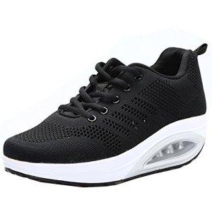 JARLIF Women's Comfortable Platform Walking Sneakers Lightweight Casual Tennis Air Fitness Shoes All Black US6.5