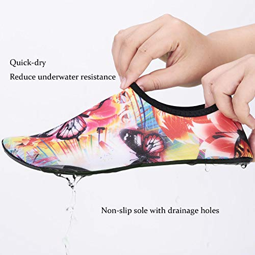 Water Sports Shoes Colorful Pattern Beach Swimming Surf Quick-Dry Aqua ❤ SIZE CHART (Size comparability):