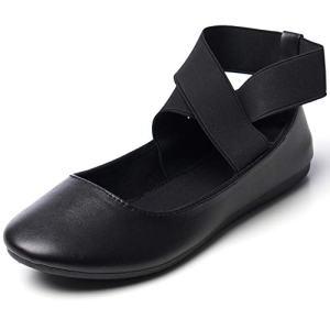 alpine swiss Peony Womens Ballet Flats Elastic Ankle Strap Shoes Leatherette Black 8 M US