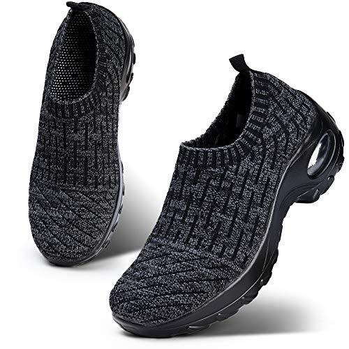 HKR Womens Walking Sneakers Lightweight Mesh Knit Slip On Platform Fitness Toning Shoes Anti Slip Dark Grey 7(ZJW1872shenhui38)