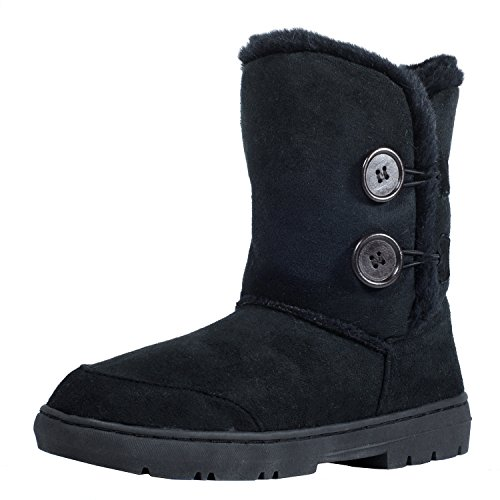 CLPP'LI Womens Twin Button Fully Fur Lined Waterproof Winter Snow Boots
