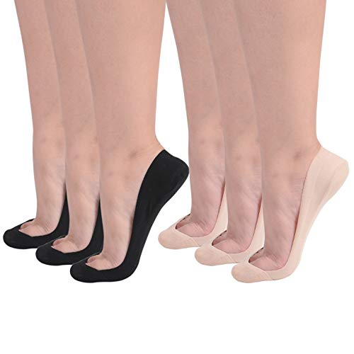 Flammi Women's 6 Pairs TRULY No Show Socks for Flats Non Slip