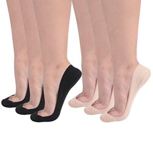 Flammi Women's 6 Pairs TRULY No Show Socks for Flats Non Slip