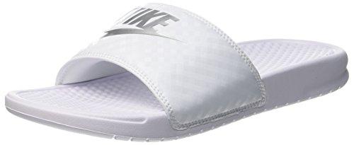 Nike Women's Benassi Just Do It Sandal, White/Metallic Silver