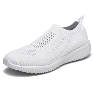 konhill Women's Casual Walking Shoes - Breathable Mesh Work Slip-on Sneakers 6.5 US All White,37