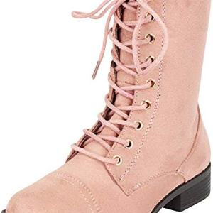 Forever Link Womens Round Toe Military Lace up Knit Ankle