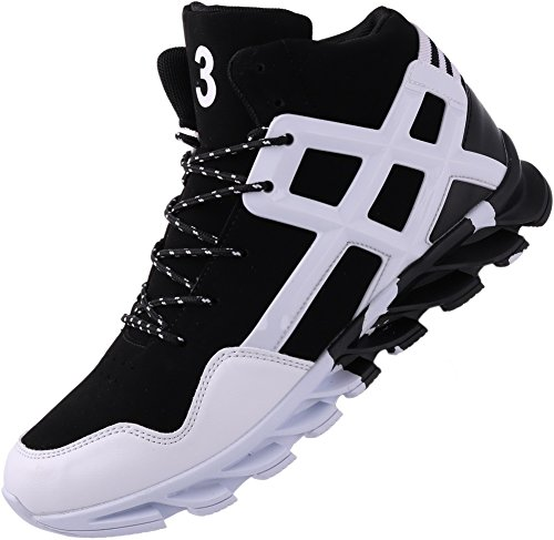 JOOMRA Men's Fashion Sneakers for Walking Jogging Gym Fitness Travel Lace up High Mid Top Cushion Trainer Athletic Tennis Shoes White 12 D(M) US