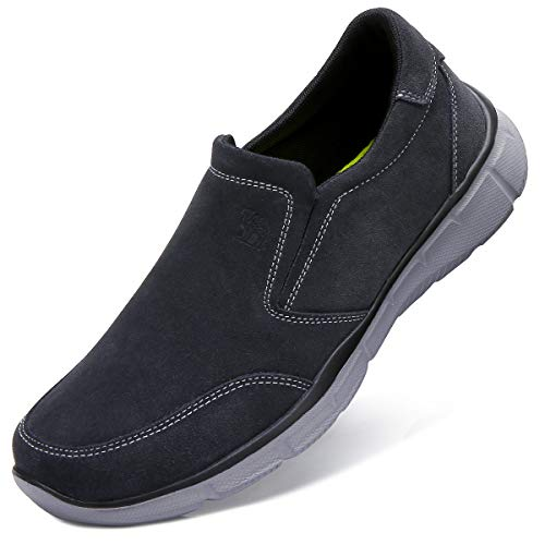 CAMEL CROWN Mens Slip On Sneakers Leather Loafers Comfort House Slippers Casual Walking Shoes for Men Outdoor Sports Fitness Dark Grey Size 12.5