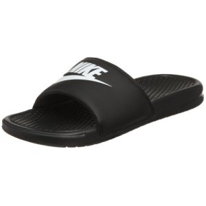 Nike Men's Benassi Just Do It Athletic Sandal, White Black