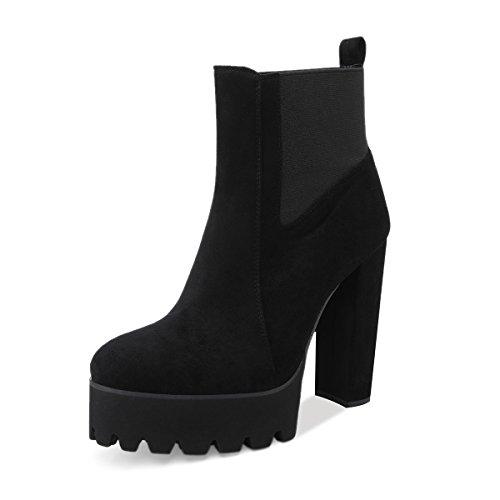 Onlymaker Women's Comfy Elastic Platform Boots Round Toe Chunky High Heel
