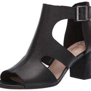 CLARKS Women's Deva Heidi Heeled Sandal, Black Leather, 100 M US