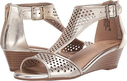 Aerosoles Women's Sapphire Wedge Sandal, Gold Leather