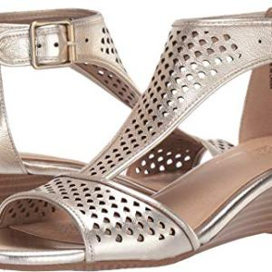 Aerosoles Women's Sapphire Wedge Sandal, Gold Leather
