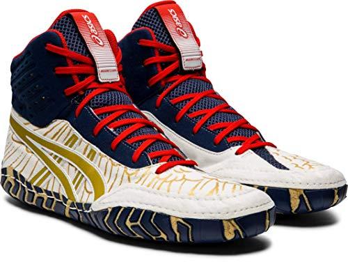 ASICS Aggressor Men's Wrestling Shoes, White/Rich Gold