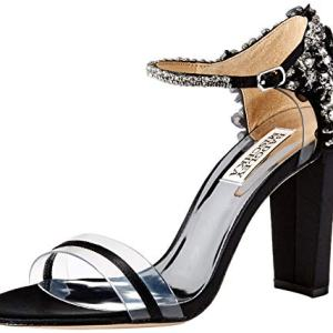 Badgley Mischka Women's Fernanda Heeled Sandal Black Satin 6.5 M US
