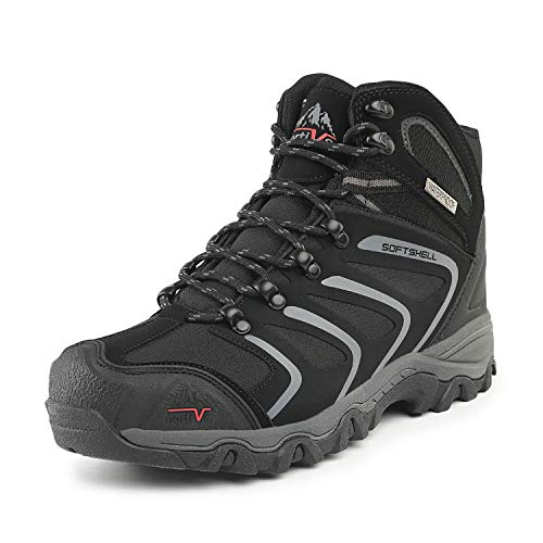 NORTIV 8 Men's Black Grey Ankle High Waterproof Hiking Boots