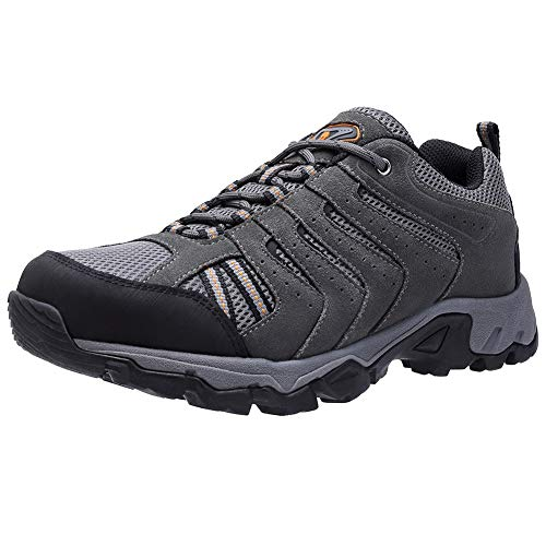 CAMEL CROWN Mens Leather Hiking Shoes Lightweight Slip-Resistant Walking Sneakers for Outdoor Trail Trekking Grey