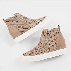 LAICIGO Womens Wedge Platform Sneakers Ankle Booties Heel Zipper