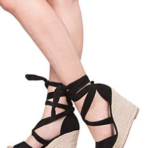 Kathemoi Womens Wedge Sandals Ankle Strap Lace Up Espadrille Slingback Platform Heeled Sandals