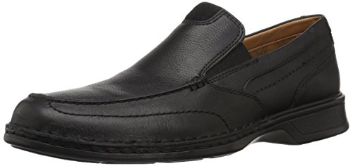 CLARKS Men's Northam Step Loafer, Black Oily Leather