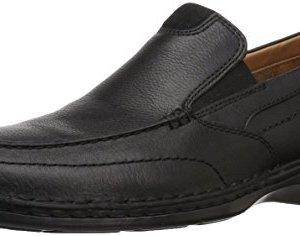 CLARKS Men's Northam Step Loafer, Black Oily Leather