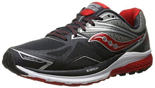 Saucony Men's Ride 9 Running Shoe, Grey/Charcoal/Red, 10 M US