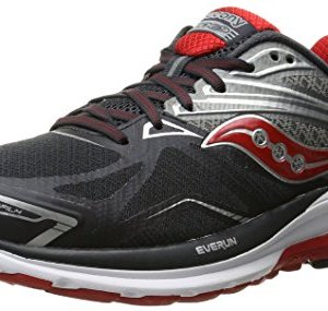 Saucony Men's Ride 9 Running Shoe, Grey/Charcoal/Red, 10 M US