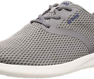 Crocs Men's LiteRide Mesh Lace Sneaker, Smoke/White
