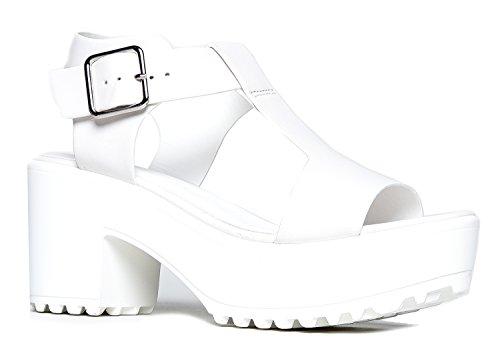 J. Adams Corby Platform Sandal - Low Heel T-Strap Open Toe Flatform